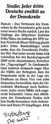Jeder dritte Deutsche zweifelt an der Demokratie