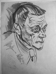Karl Valentin porträtiert von Edgar John 1937, Wickipedia Bild unter GNU-Licence