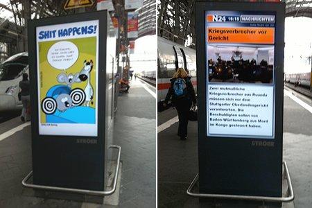 City-Light Werbung im Bahnhof Frankfurt