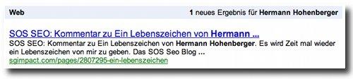 Google Alert zum Blog-Kommentar vom Hermann Hohenberger