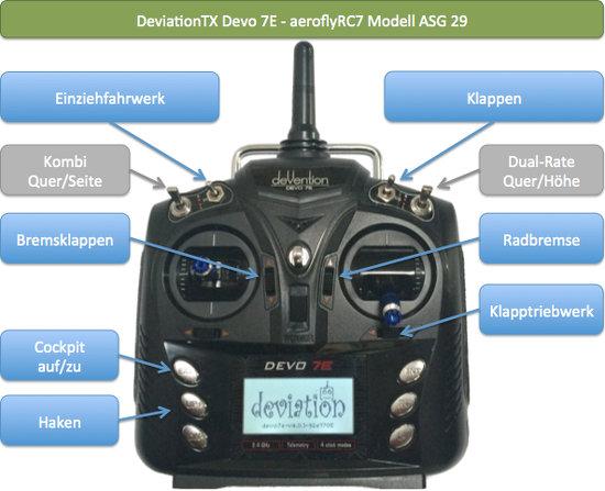 aeroflyFS7 mit Devo-7E Einstellungen